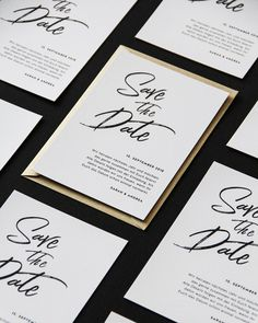 In edlem schwarz weiß, moderne Save-the-Date Karte. Save The Date, Happy Day, Wedding Cards, Bullet Journal, Instagram, Paper Mill, Getting Married, Glee, Monochrome