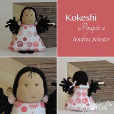 KOKESHI Cousue en juin 2015 Adoptée  Patron : Au Gré Du Coton Tissus : coton et laine Dimensions : 12 cm
