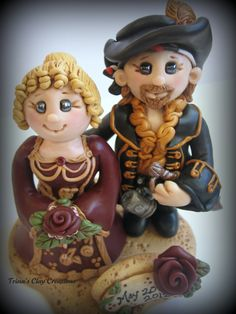 Wedding Cake Topper, Custom Pirate and Renaissance Polymer Clay Wedding/Anniversary Keepsake, Victorian Wedding. $190.00, via Etsy.