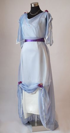 Edwardian light blue evening dress plus size made in England Downton Abbey inspired Titanic styled dress Edwardian Clothing, Edwardian Dress, Edwardian Fashion, Vintage Fashion, Edwardian Era, Blue Tea Dresses, Evening Dresses Plus Size, Plus Size Dresses, Ball Dresses