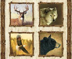 Penny Rose Fabrics Majestic Outdoors P5571 White Digital Pillow Panel Deer, Wolf, Bear & Eagle