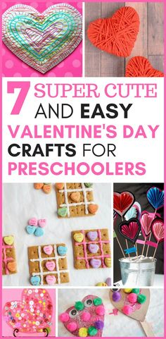 Here are 7 cute and easy Valentine's Day crafts for preschoolers that they can make for decorations around the house, or give to friends.