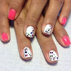 Cutie gel nails I just did at wrk. #gelish #gelnails #cheetah #studs #neon by rachell_rachell - alinebortone@gmail.com - Gmail