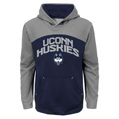 UConn Huskies Youth Stacked Color Block Pullover Hoodie – Navy/Heathered Gray