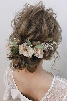 33 Wedding Hairstyles With Flowers ❤ wedding hairstyles with flowers airy curly updo with baby breath and pink petals crown cloud9.hair #weddingforward #wedding #bride #weddinghairstyles #weddinghairstyleswithflowers Flower Crown Wedding, Wedding Hair Flowers, Wedding Hair And Makeup, Bridal Flowers, Wedding Hair Accessories, Flowers In Hair, Wedding Updo, Wedding Bride, Wedding Beach