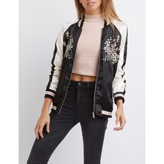 Charlotte Russe Satin Embroidered Bomber Jacket ($39) ❤ liked on Polyvore featuring outerwear, jackets, black multi, satin bomber jacket, raglan jacket, charlotte russe jackets, zip up jackets and zip jacket