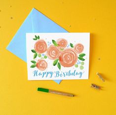 Birthday Card - Watercolor Peach Blooms and Happy Birthday