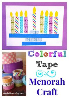 Colorful Tape Menorah Craft For Kids from Creekside Learning