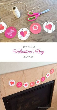 Printable Valentine's Day Banner on http://BusyMommyMedia.com | This is such a cute way to decorate for Valentine's Day!