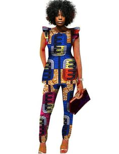 2 Piece Sets Women African Print Dashiki Top and Pants Sets Plus Size – Owame at Diyanu African Fashion Designers, African Dresses For Women, African Print Fashion, Africa Fashion, African Attire, African Wear, African Women, African Style, African Outfits