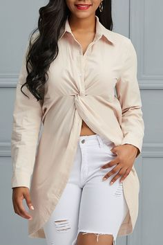 Twist Pleated Plain Mid-Length Long Sleeve Womens Shirt - My style Trendy Outfits, Fashion Outfits, Womens Fashion, Mid Length, Blouses For Women, Women's Tops, Long Sleeve, Sleeves, Shirts