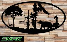 Large bear Scene Metal wall art Oval Insert 4 by SCHROCKMETALFX