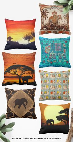 Elephant and safari themed throw pillows. Great #Elephantpillows in many style and safari style, Great safari elephat and Indian elephant theme gifts for africa lovers and elephant lovers. Unique, and cool elephants gifts for birthdays, Christmas or any occasion. #safaripillows, #indianelephats, #africananimalpillows, #animalpillows