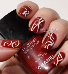 Abstract nail art on Rouge Fatal