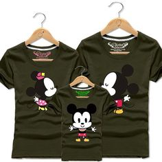 Mickey Mouse Family Cartoon Short Sleeve Mom And Daughter Matching Outfits. Couple Shirts, Family Shirts, T Shirts, Fiesta Mickey Mouse, Mickey Party, Matching Family Outfits, Matching Shirts, Disney Shirts, Disney Outfits