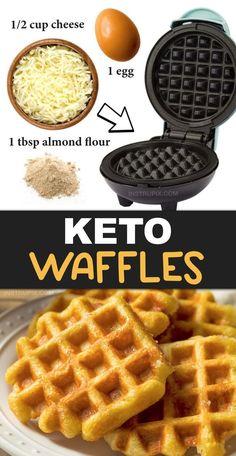 "The BEST 3 Ingredient Keto Waffles (A.A ""Chaffles"") Waffles Keto de 3 ingredientes – Instrupix Breakfast Waffles, Low Carb Breakfast, Breakfast Ideas, Keto Pancakes, Breakfast Recipes, Low Carb Waffles, Keto Biscuits, Breakfast Cups, Cheese Waffles"