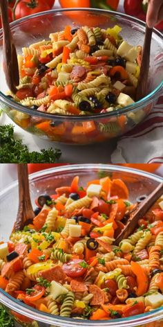 Potluck Dishes, Dinner Dishes, Pasta Dishes, Best Macaroni Salad, Side Dish Recipes, Side Dishes, Cookout Food, Pasta Salad Italian, Recipes Appetizers And Snacks