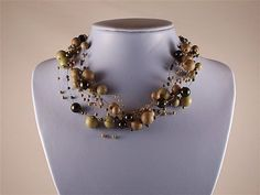 Multi Strand Multi Toned Green Beaded Illusion Party, Dressy, Bridesmaids Necklace
