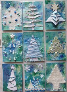 blue white Christmas tree pocket letter