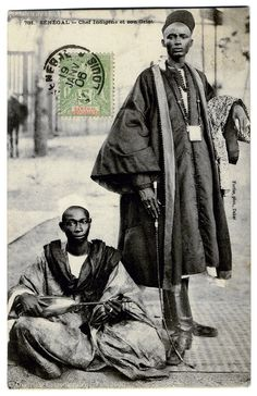A Senegalese Chief with his Griot (c.1904), Postcard sent from Senegal to France. Photographer: Edmond Fortier, Dakar.