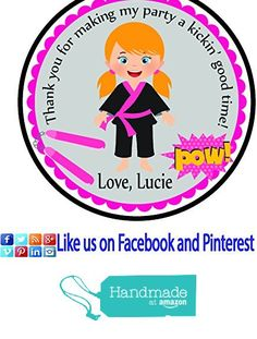 Karate Girl Light Hair Personalized Stickers Birthday Party Favors - Treat Tag Toppers- 24 Stickers Popular Size 2.5 Inches. Peel- and- Stick Backing Self-Adhesive Stickers from Custom Party Favors, Handmade Craft , and Educational Products https://www.amazon.com/dp/B01GP46NKK/ref=hnd_sw_r_pi_dp_2lewxbC9NHTY0 #handmadeatamazon