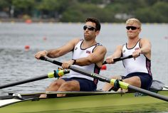 . Anders Weiss and Nareg Guregian, of United States, compete in the men\'s pair repechage heat during the 2016 Summer Olympics in Rio de Janeiro, Brazil, Monday, Aug. 8, 2016. (AP Photo/Andre Penner)