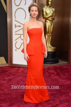 Jennifer Lawrence Orange Red Strapless Evening Dress 2014 Oscar Red Carpet - TheCelebrityDresses