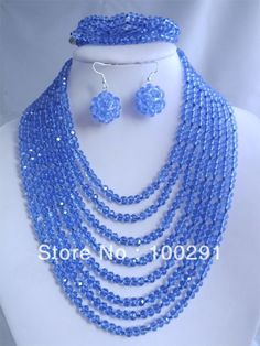 Beautiful blue crystal jewelry set necklace