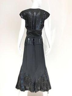 1980s Chloe Black Silk Sequin Gown 2
