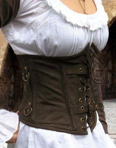 KOSTÜMTRUHE   Verkauf & Versandhandel, mittelalterliche Kleidung, Kostüme & Gewandungen, Zubehör aus Ritterzeit und Piratentum - Unterbrust Corsage Nubukleder