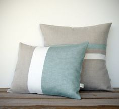 Sage Colorblock and Stripe Pillow Set -  Striped Pillow (16x16) - Colorblock Pillow (12x16) by JillianReneDecor - Hemlock