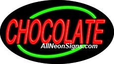 "Chocolate Flashing Neon Sign-ANSAR14332  Dimensions: 17""H x 30""L x 3""D  Custom colors ship in 5-7 business days  110 volt flasher transformer  Cool, Quiet, and Energy Efficient  Hardware & chain are included  Comes standard with 6' power cord  Indoor use only  1 Year Warranty/electrical components  1 Year Warranty/standard transformers."