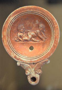 Oil lamp with erotic scene, Romisch-Germanisches Museum, Cologne   da Following Hadrian