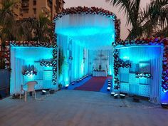 The entrance strategy is actually more important than the exit strategy. Reception Stage Decor, Wedding Stage Design, Wedding Reception Backdrop, Wedding Mandap, Desi Wedding Decor, Wedding Hall Decorations, Marriage Decoration, Wedding Gate, Wedding Entrance