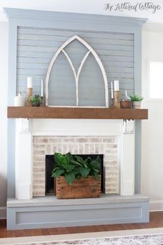 Living room white brick fireplace joanna gaines 40 ideas for 2019 Farmhouse Fireplace Mantels, Brick Fireplace Makeover, White Fireplace, Fireplace Remodel, Fireplace Wall, Living Room With Fireplace, Fireplace Surrounds, Fireplace Design, Farmhouse Decor