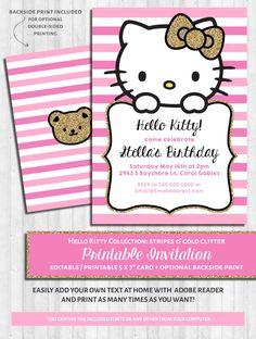 Hello Kitty Party Invitations: Pink U0026 Gold Glitter