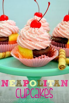 Sweet and reminiscent of your favorite childhood ice cream, these Neapolitan Ice Cream Cupcakes are the perfect treat! #neapolitan #cupcakes
