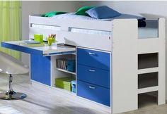 Parisot Bett »Reverse« für 249,99€. Praktisches Kinderhochbett, Mit kleiner Kommode und herausziehbarem Schreibtisch, Pflegeleichte Kunststoffoberfläche bei OTTO