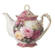 Summer Rose Hand Painted Round Teapot