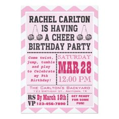 Shop Green Cheerleading Birthday Party Invitation created by aaronsgraphics. Cheer Birthday Party, Cheer Party, 9th Birthday, Cheer Banquet, Chevron Birthday, Birthday Decorations, Cheerleading, Party Invitations, Rsvp