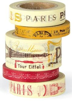 Paris Decorative Paper Tape- we can use old coffee tin can and wrap them in the decorative tape to use as a base for fresh flowers... Tres Chic!