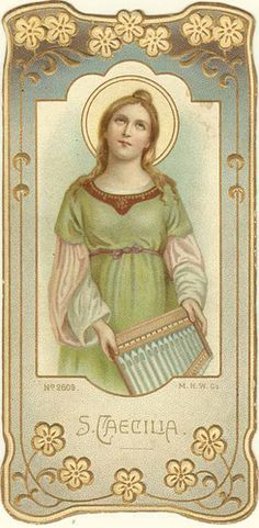 In warm celebration of the first offering of Holy Mass in the temple of the Lord, St. Procopius in Chicago, IL. Santa Cecilia, Catholic Art, Catholic Saints, Catholic Crafts, Religious Images, Religious Art, Sainte Cecile, Funeral Cards, Vintage Holy Cards