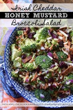 Irish Cheddar Honey Mustard Broccoli Salad - This is not your ordinary broccoli salad; it's not drenched in a fattening and over-powering dressing. Instead, it's sweet, salty, and loaded with crunchy vegetable goodness. This is the type of broccoli salad you can eat every single night without feeling even the tiniest bit guilty. With this broccoli salad, the fresh crunchy broccoli is definitely the star of the show. Fresh Broccoli, Broccoli Salad, Mustard Pork Chops, Marinated Pork Chops, Rich Recipe, Salad Ingredients, Honey Mustard, Healthy Salad Recipes, Recipes