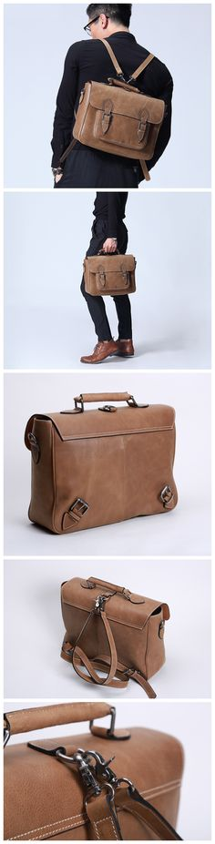 Mens Leather Backpack Business bag Leather messenger bag Leather Murse for Electronic Gadget & Bicycle Bags (G90) - Thumbnail 4