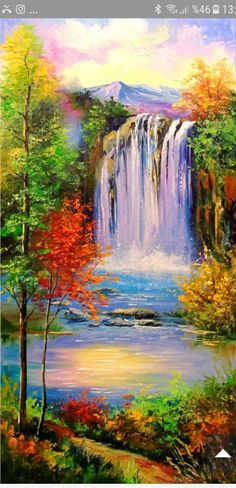 Mountain Waterfall Painting - Wonderful fantasy nature paintings of sakura mountain and river. Use waterfall art and prints in your personal spaces to evoke that magical feeling of. Oil Pastel Paintings, Oil Pastel Art, Oil Pastel Drawings, Nature Paintings, Oil Painting Abstract, Acrylic Painting Canvas, Landscape Paintings, Landscape Art, Nature Oil Painting