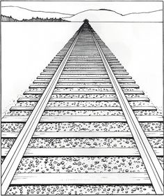 linear perspective- Lines and vanishing points used to depict the diminishing sizes and recession of objects as they seem to move further away in the picture plane.