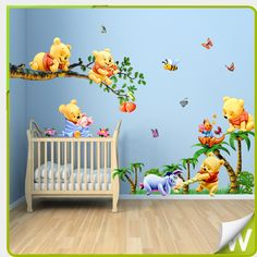 winnie the pooh full bedroom mural details about winnie the pooh wall stickers butterflies tree - Armoire Bebe Winnie Lourson