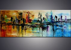 60 x 24 Original   Large Abstract Modern Cityscape Palette Knife Acrylic Painting Ready to Hang. $250.00, via Etsy.