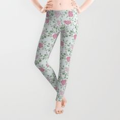Rose Print Leggings - $39.00  #Society6 #leggings #womens #fashion #clothing #rose #pretty