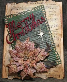 Vintage Poinsettia by jfricker - Cards and Paper Crafts at Splitcoaststampers Christmas Card Crafts, Xmas Cards, Handmade Christmas, Greeting Cards, Christmas Music, Diy Cards, Handmade Cards, Poinsettia Cards, Christmas Poinsettia